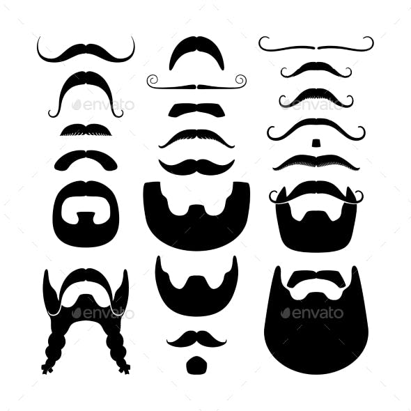 Moustaches and Beards Silhouette Icons