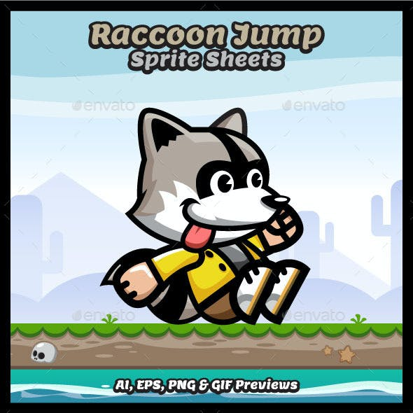Raccoon Jump Sprite Sheets Game Character