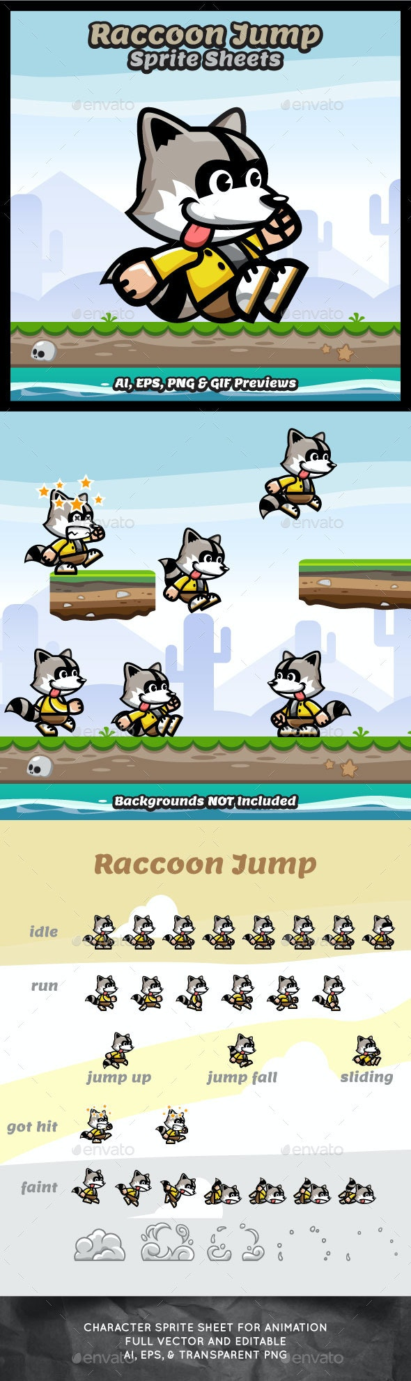Raccoon Jump Sprite Sheets Game Character - Sprites Game Assets