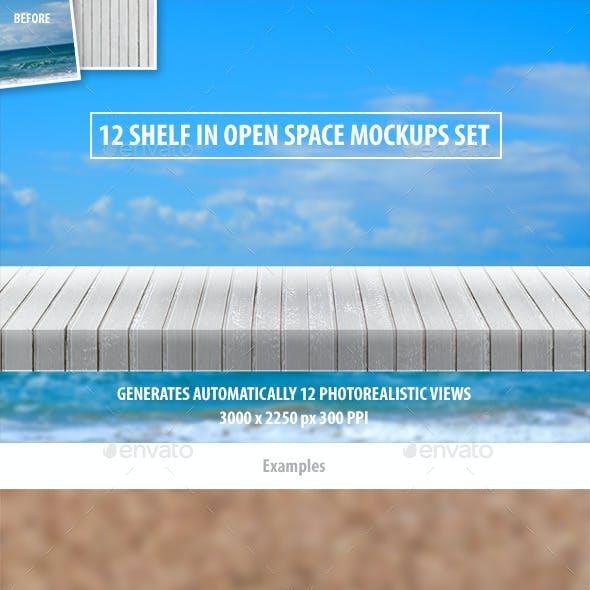 12 Shelf in Open Space Mockups Set