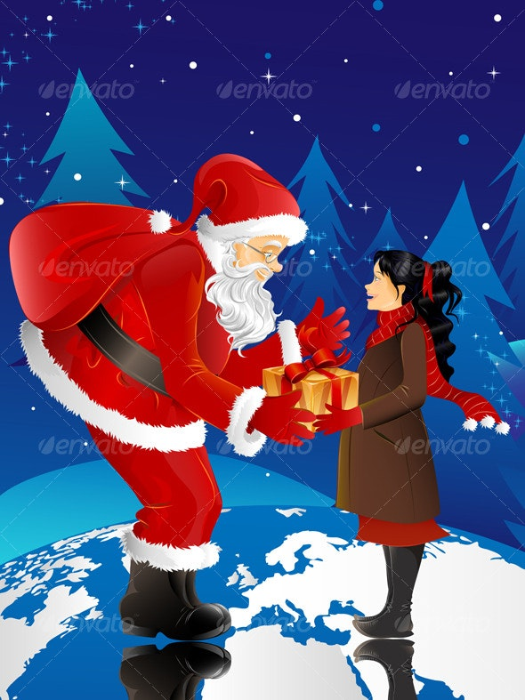 Santa Claus and little girl - Christmas Seasons/Holidays