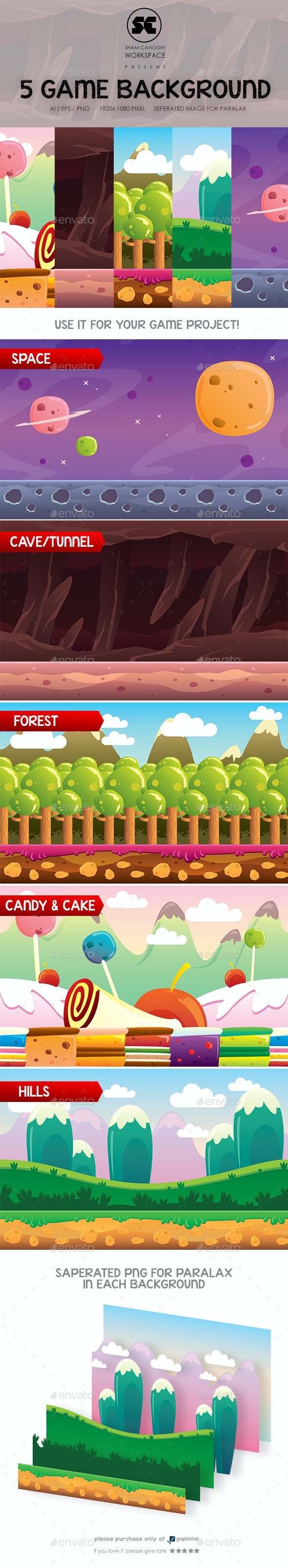5 in 1 Game Background - Backgrounds Game Assets