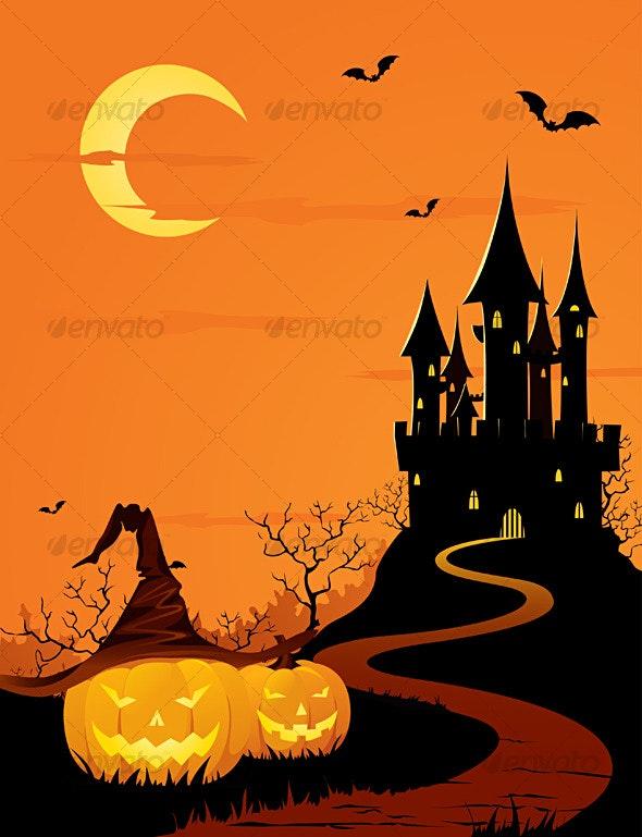Mystery castle and pumpkins - Halloween Seasons/Holidays