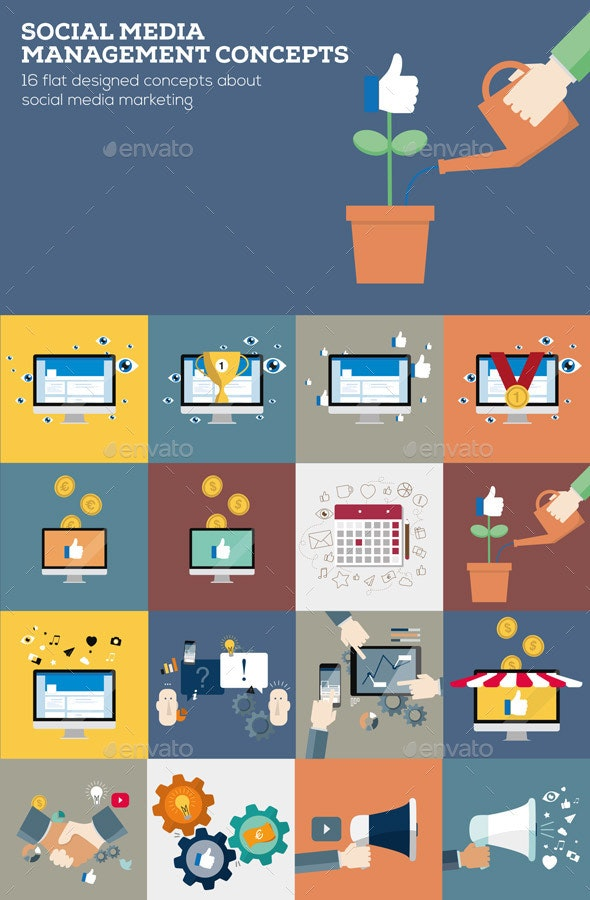 Social Media Management Concepts in Flat Design - Business Conceptual
