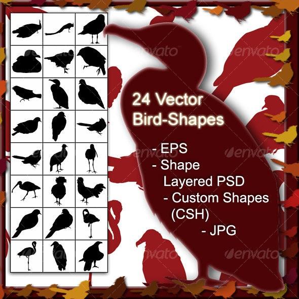 24 Vector Bird Shapes - Animals Characters