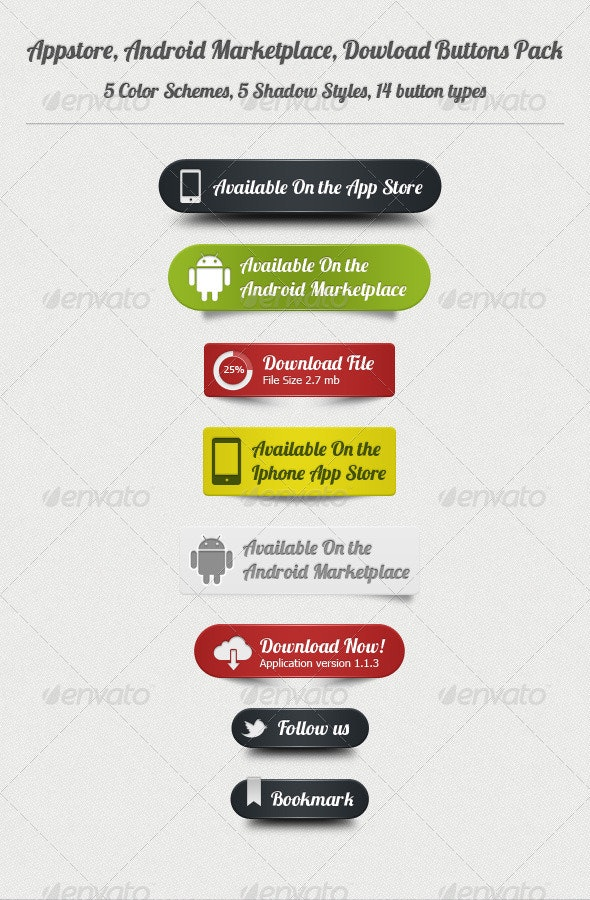 Appstore, Android, Dowload Buttons Pack - Buttons Web Elements