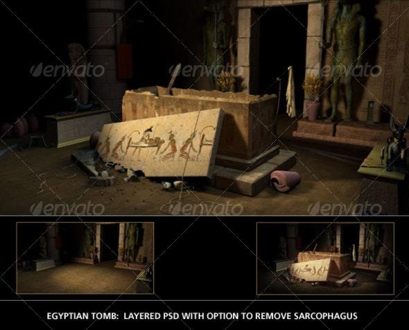 Egyptian Tomb - Scenes Illustrations