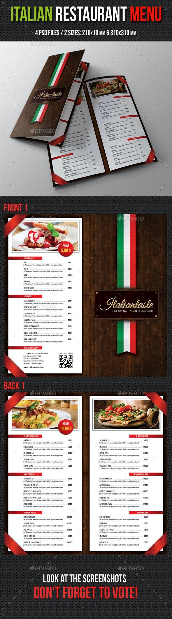 Italian Restaurant Menu Brochure - Food Menus Print Templates