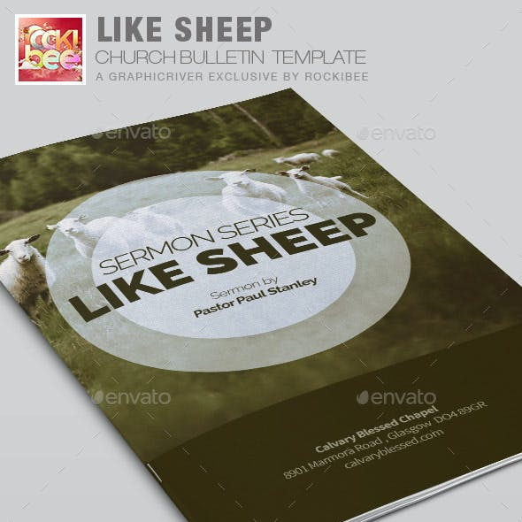Like Sheep Church Bulletin Template