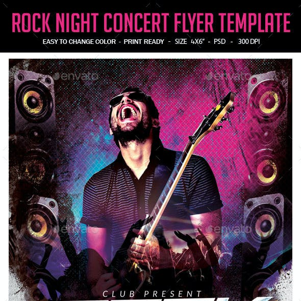 Rock Night Concert Flyer Template