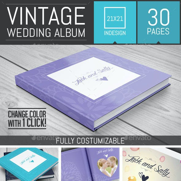 Vintage Wedding Square Photo Album Template