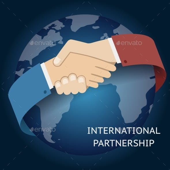 International Partnership Businessman Handshake