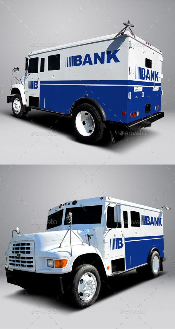 Ford F800 Armored Truck Wrap MockUp - Vehicle Wraps Print