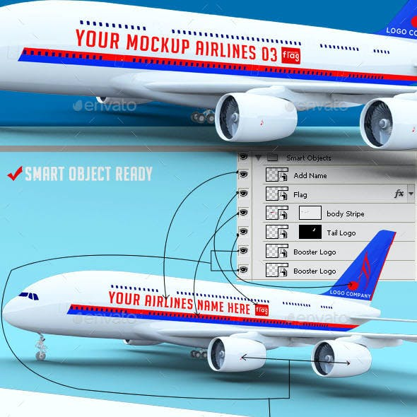 Airplane Advertising Mockup 03 - A380