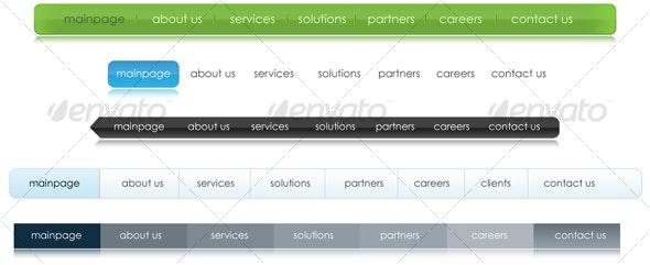 5 Different Colors Corporate Web 2.0 Menus - Navigation Bars Web Elements