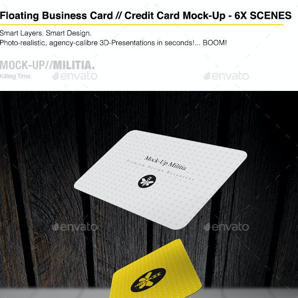 Floating | Flying | Falling Business Card Mock-Up