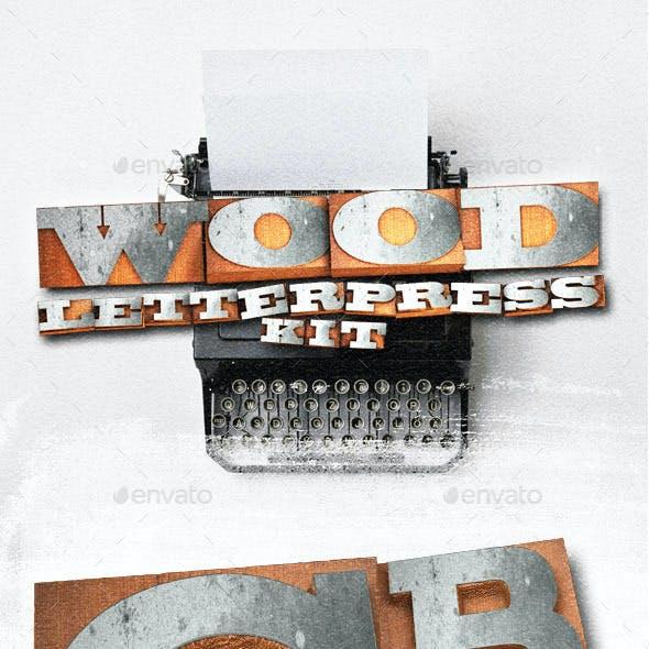 Wood Letterpress Text Kit