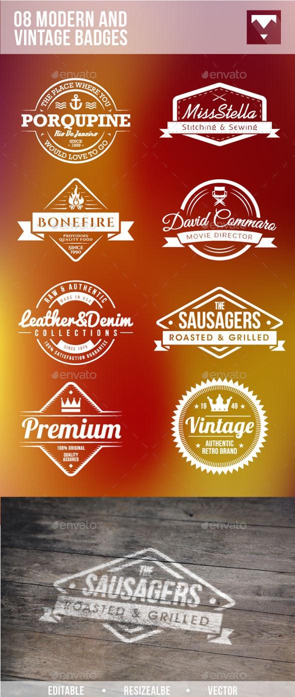 08 Modern And Vintage Badges - Badges & Stickers Web Elements