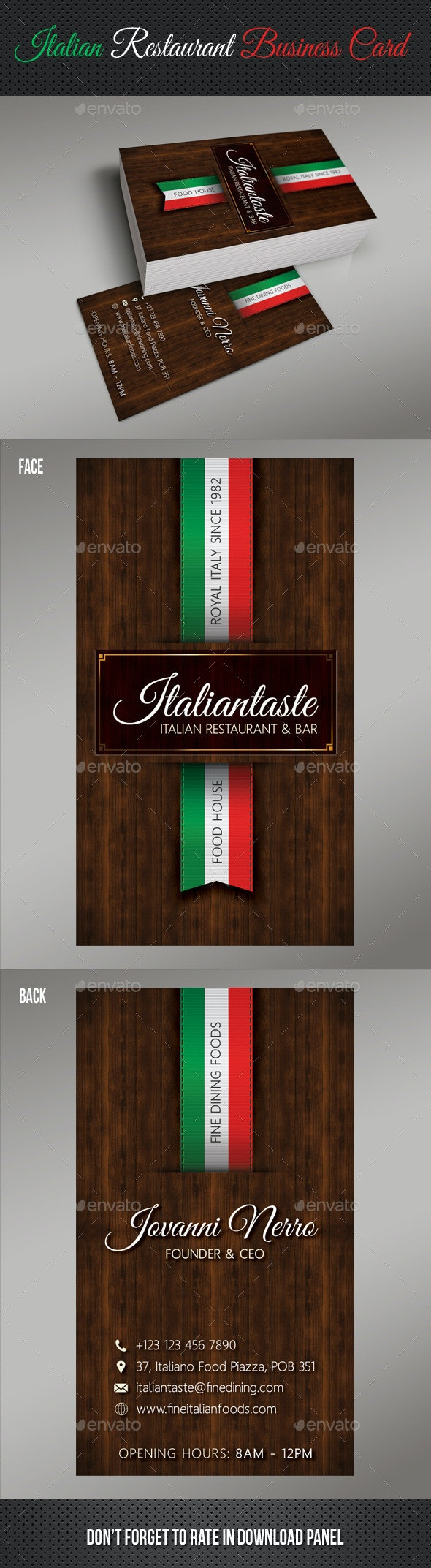 Italian Restaurant Business Card - Industry Specific Business Cards