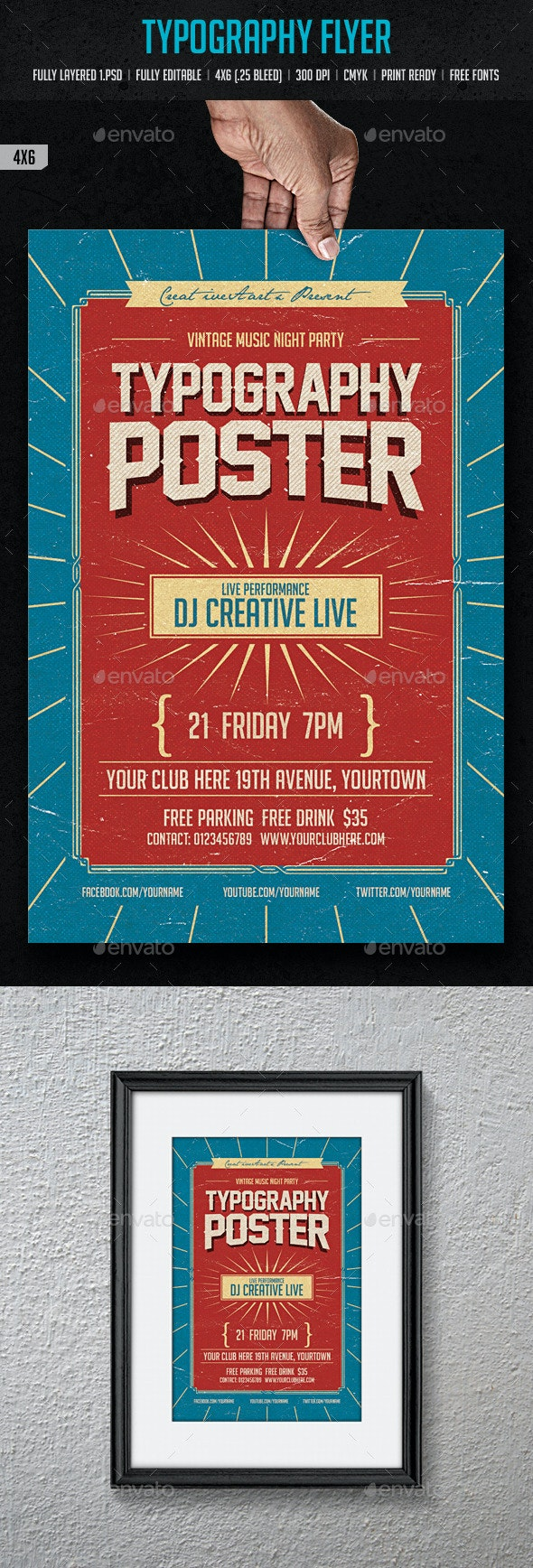 Typography Flyer - Clubs & Parties Events