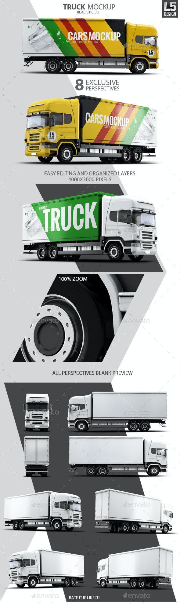Cargo Truck Mock-Up - Vehicle Wraps Print