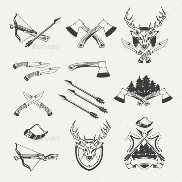 Set of Hunt Emblems, Badges, Labels and Designed