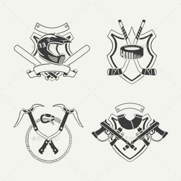 Set of Extreme Sports Emblems, Badges, Labels
