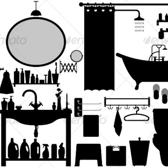 Bathroom Toilet Design Set Vector