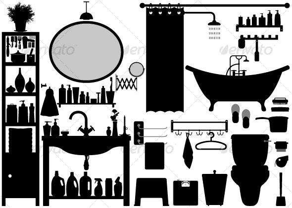 Bathroom Toilet Design Set Vector - Man-made Objects Objects