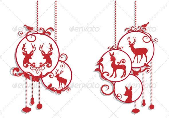 Christmas Balls With Deer - Christmas Seasons/Holidays