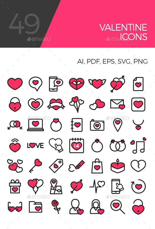 Colorful Valentine icons