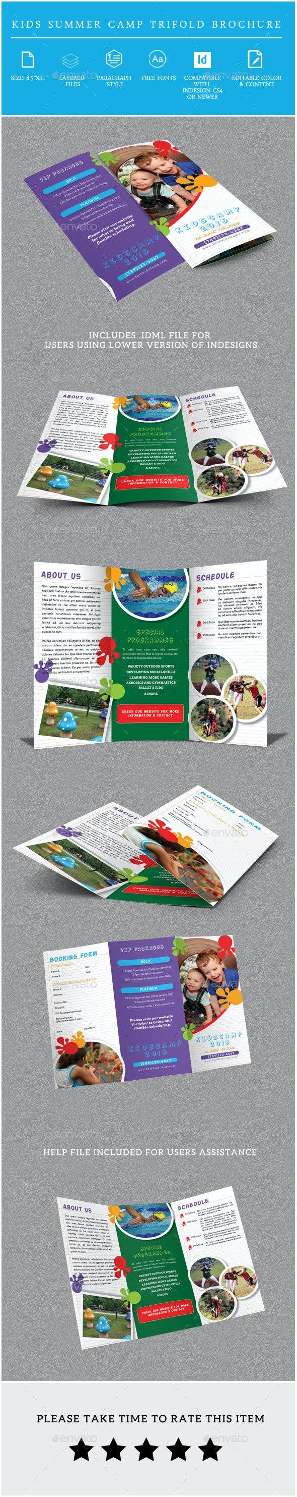 Kids Summer Camp Trifold Brochure - Informational Brochures