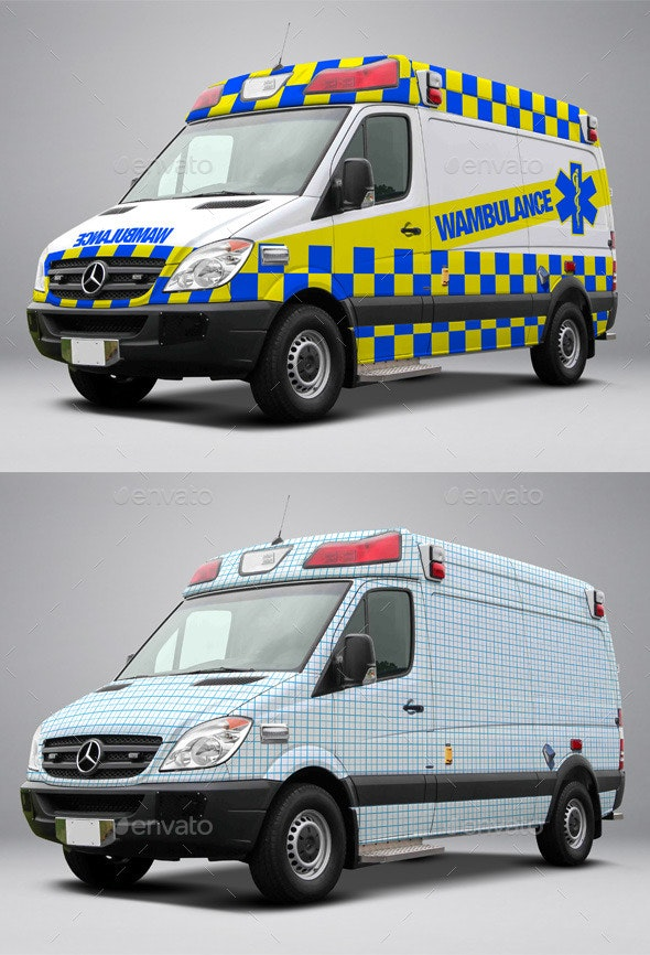 2014 Mercedes Sprinter Ambulance Wrap MockUp - Vehicle Wraps Print