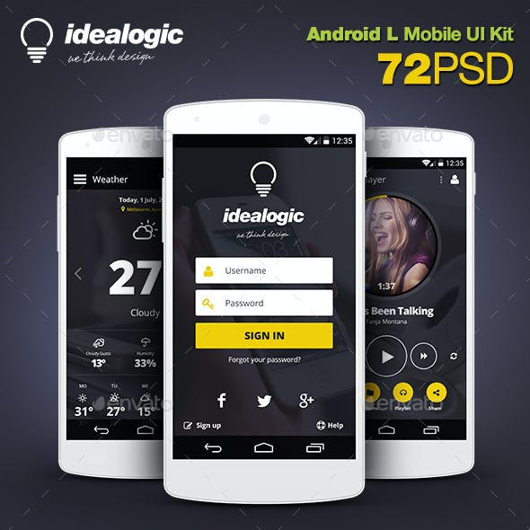 Idealogic - Android L Mobile UI Kit