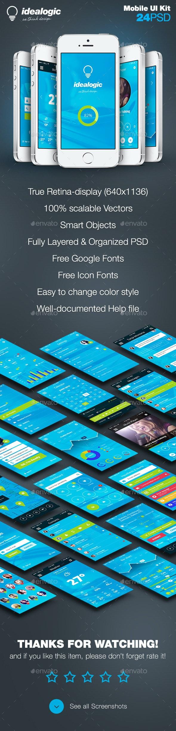 Idealogic - Flat Mobile App UI Design - User Interfaces Web Elements