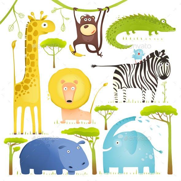 African Animals Fun Cartoon Clip Art Collection