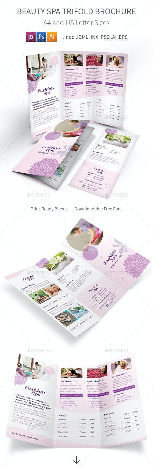 Beauty Spa Trifold Brochure - Informational Brochures