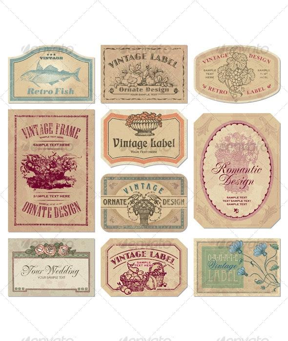 Vintage labels set (vector) - Backgrounds Decorative