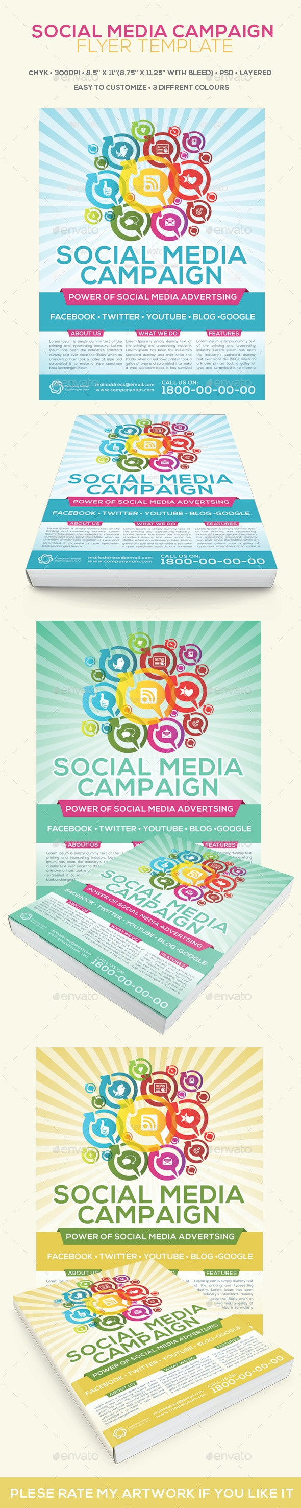Social Media Campaign Flyer Template - Flyers Print Templates