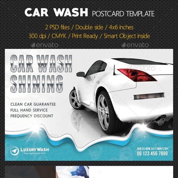 Car Wash Postcard Template