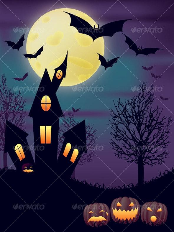 Night Halloween Scene - Halloween Seasons/Holidays
