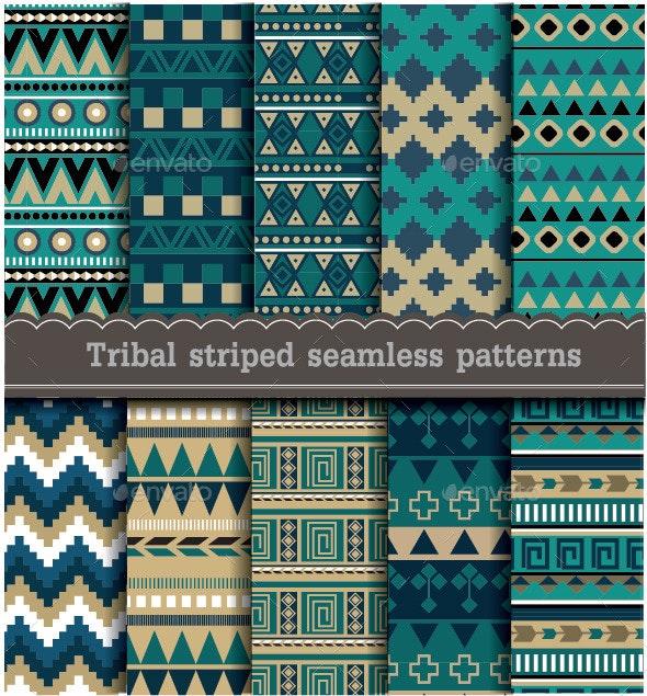 Tribal Striped Seamless Patterns - Patterns Decorative