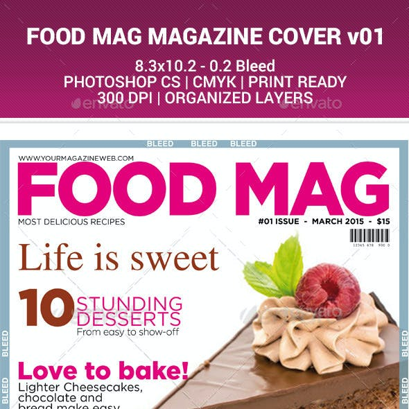 FOOD MAG - MAGAZINE COVER DESIGN v01