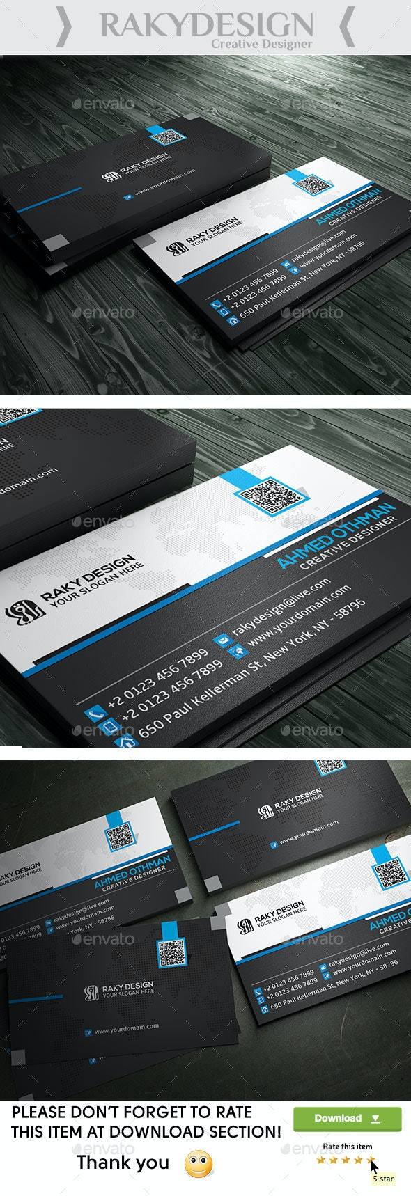 Blue Black Business Card - Corporate Business Cards