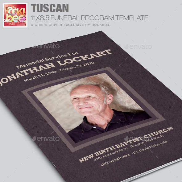 Tuscan Funeral Program Template
