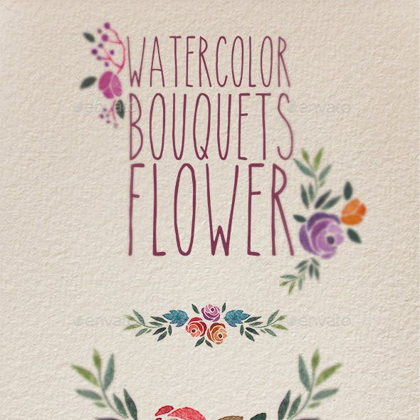 Watercolor bouquet flower