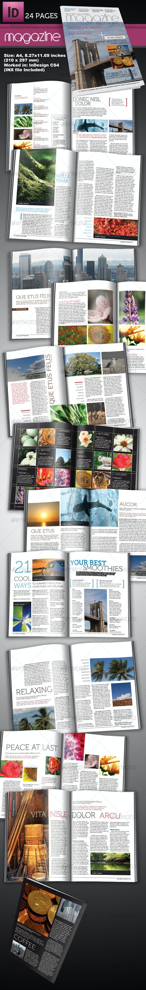 24 Page InDesign Magazine A4 - Magazines Print Templates