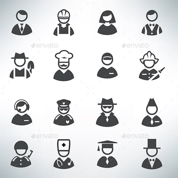 Profession Icons Set, Business Avatar Collection