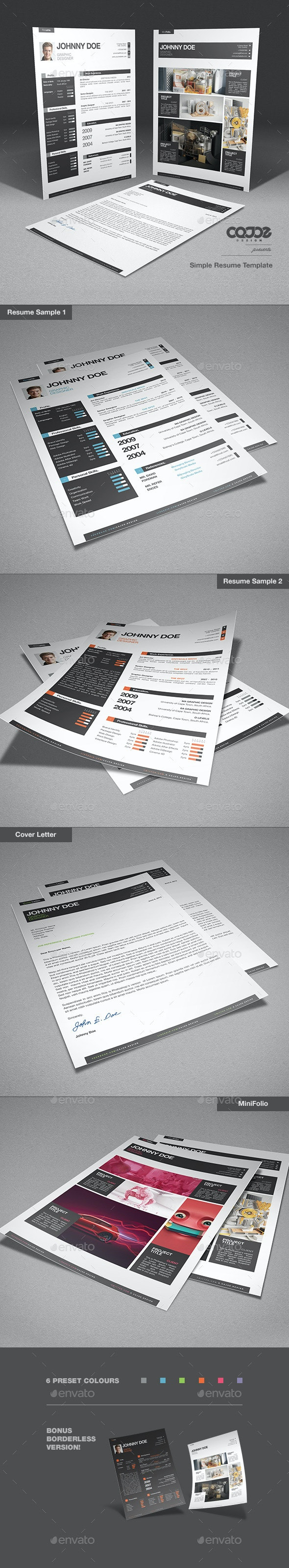 Simple Resume / CV Template + Mini Portfolio - Resumes Stationery