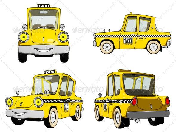 Cartoon Taxi Cab - Objects Illustrations
